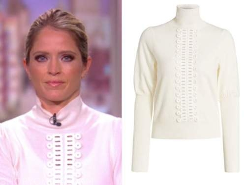 the view, sara haines, white lace trim turtleneck sweater