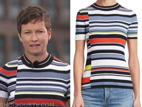 the today show, stephanie gosk, striped short sleeve sweater