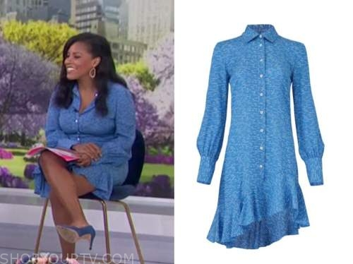 the today show, sheinelle jones, blue asymmetric shirt dress