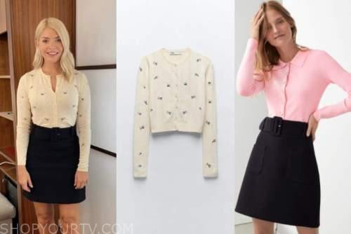 holly willoughby, this morning, embroidered cardigan and skirt
