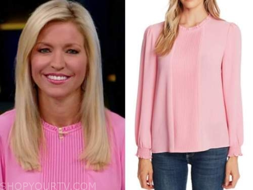 fox and friends, ainsley earhardt, pink pintuck blouse
