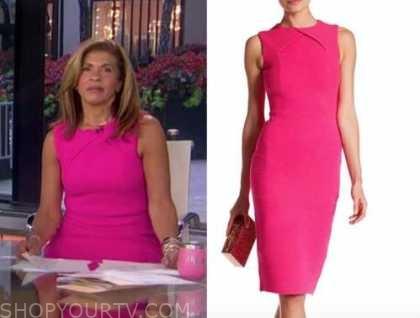 hoda kotb, the today show, hot pink sheath dress