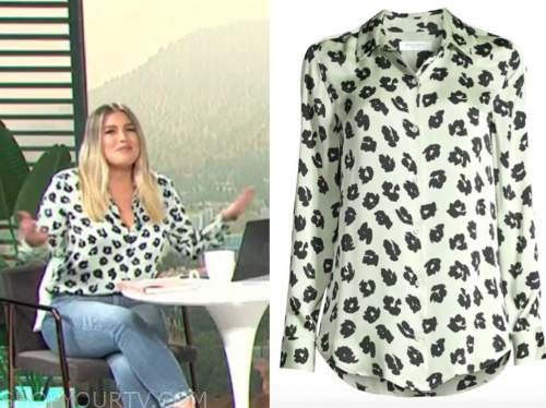 carissa culiner, E! news, daily pop, green and black silk shirt