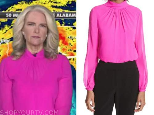 janice dean, hot pink mock neck top, fox and friends
