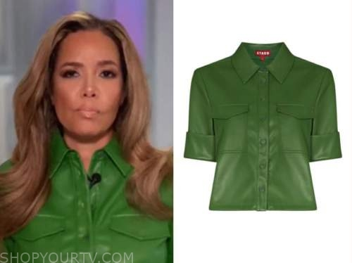 sunny hostin, the view, green leather shirt