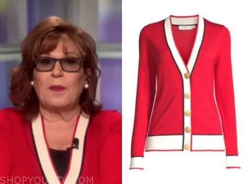 joy behar, the view, red and ivory cardigan sweater