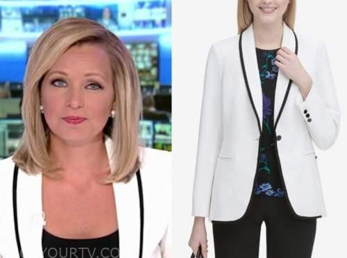 america's newsroom, sandra smith, white and black contrast trim blazer