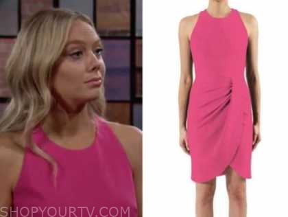 abby newman, hot pink drape dress, the young and the restless, melissa ordway