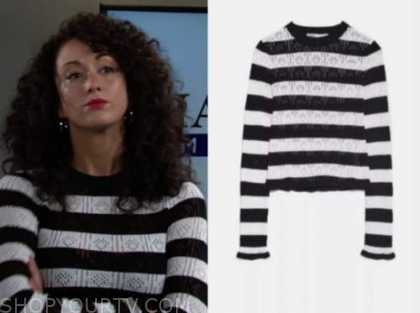 the young and the restless, Alyssa Montalvo, black and white striped sweater