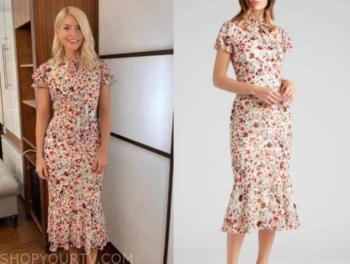 holly willoughby, this morning, floral tie neck midi dress