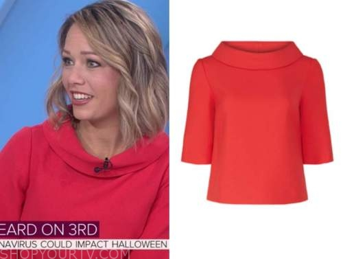 dylan dreyer, red fold neck top, the today show