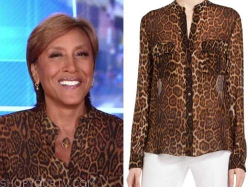 robin roberts, leopard blouse, good morning america