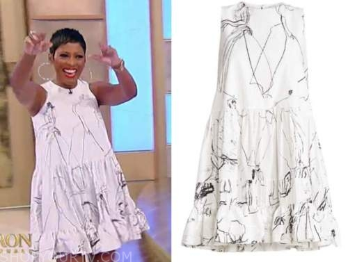 tamron hall, tamron hall show, white and black printed dress