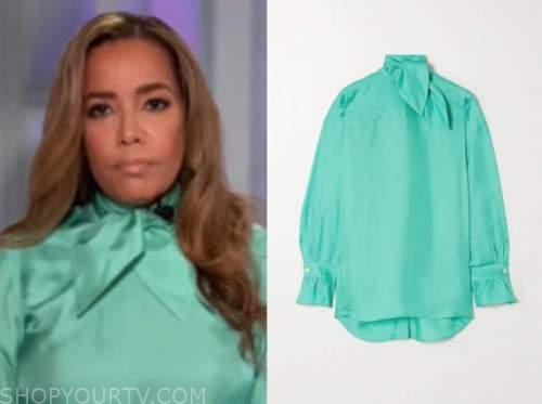 sunny hostin, turquoise silk tie neck blouse, the view