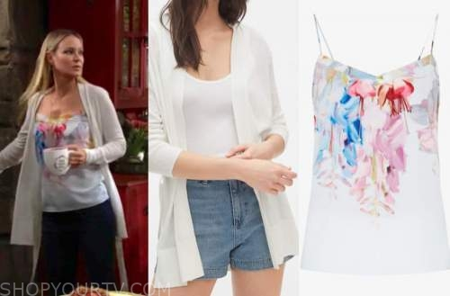 sharon newman, sharon case, the young and the restless, white cardigan, multicolor camisole