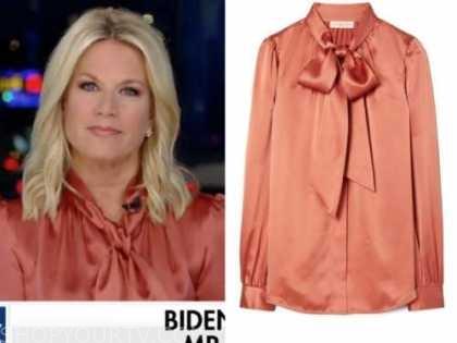 the story, orange satin tie neck blouse, martha maccallum