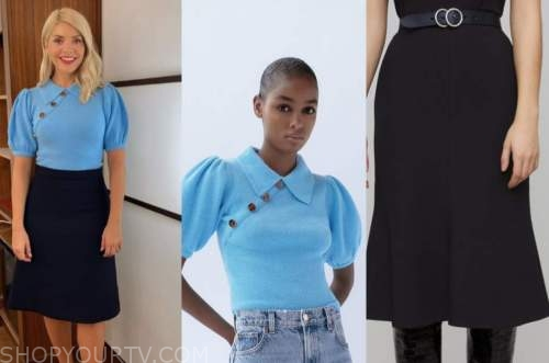 holly willoughby, this morning, blue sweater, black skirt