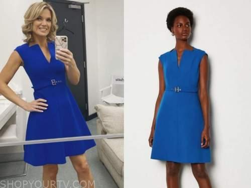 charlotte hawkins, blue belted dress, good morning britain