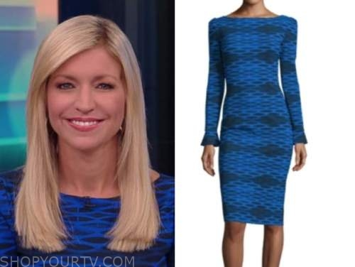 fox and friends, ainsley earhardt, blue and black printed dress