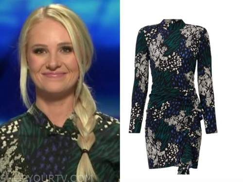 fox and friends, tomi lahren, green and blue floral mock neck dress