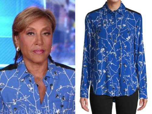 robin roberts, good morning america, blue and white printed blouse
