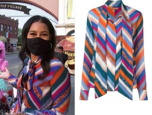 morgan radford, chevron tie neck blouse, the today show