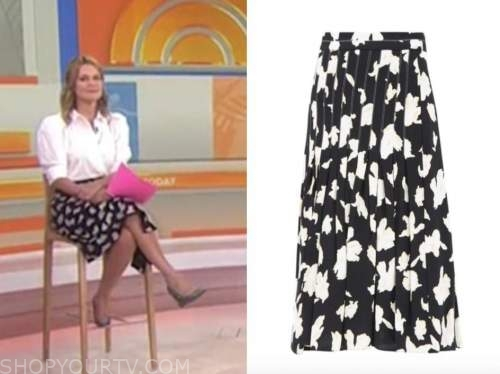 savannah guthrie, black and white printed skirt, the today show