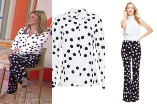 jenna bush hager, the today show, black and white polka dot shirt and pants