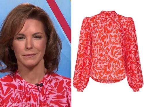 stephanie ruhle, the today show, red and pink printed blouse