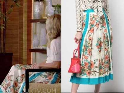 kelly ripa, live with kelly and ryan, floral satin midi skirt