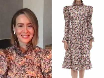 sarah paulson, floral puff sleeve midi dress, live with kelly and ryan