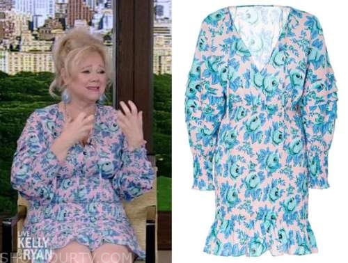 caroline rhea, live with kelly and ryan, pink and blue floral smocked dress