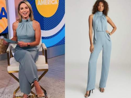 good morning america, amy robach, blue halter jumpsuit