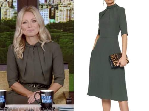 kelly ripa, live with kelly and ryan, green midi dress