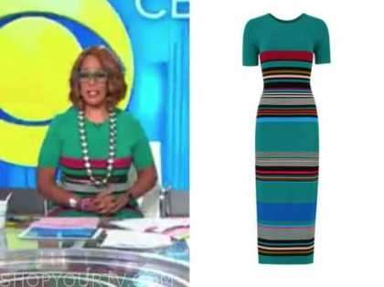 gayle king, green striped dress, cbs this morning