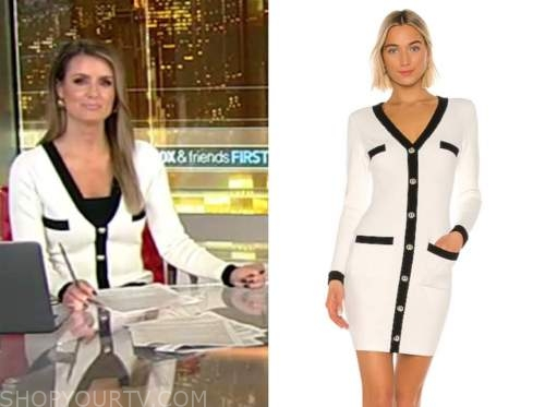 jillian mele, fox and friends, black and white contrast trim cardigan sweater dress