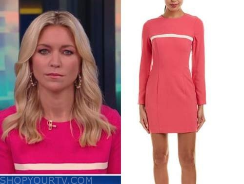 ainsley earhardt, fox and friends, pink stripe sheath dress