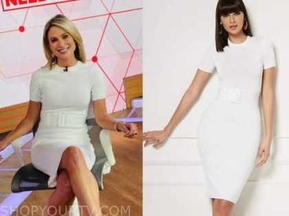 amy robach, good morning america, white belted sheath dress