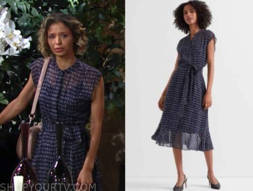 elena dawson, brytni sarpy, blue printed midi dress, the young and the restless