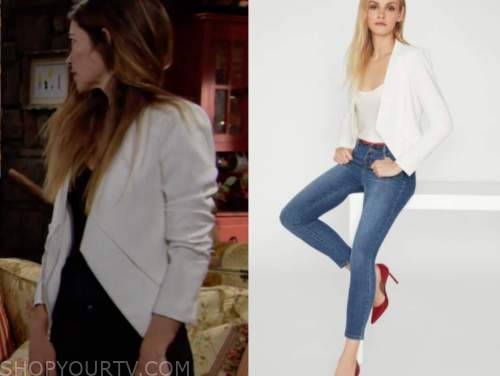 victoria newman, amelia heinle, white blazer, the young and the restless