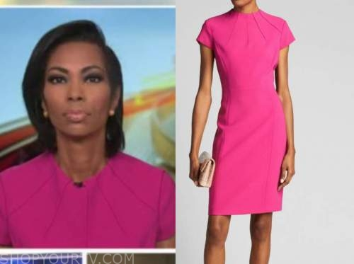 harris faulkner, outnumbered, pink cap sleeve sheath dress