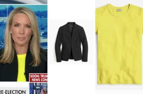 dana perino, the daily briefing, yellow sweater, black blazer