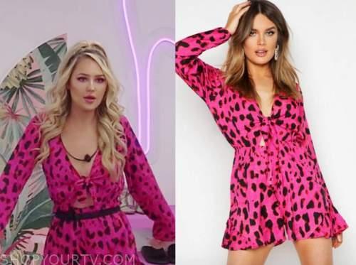 laurel, love island usa, pink leopard romper