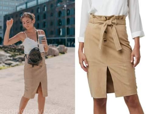 caila quinn, the bachelor, tan suede pencil skirt