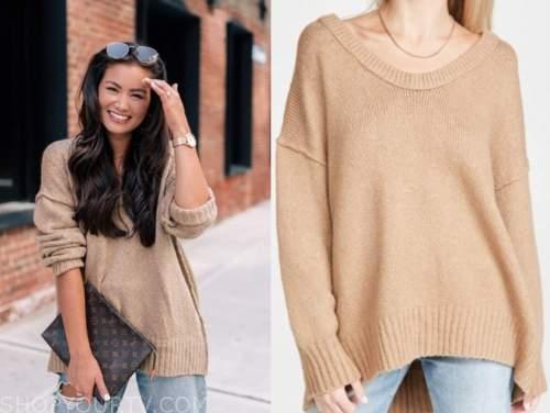 caila quinn, the bachelor, tan sweater