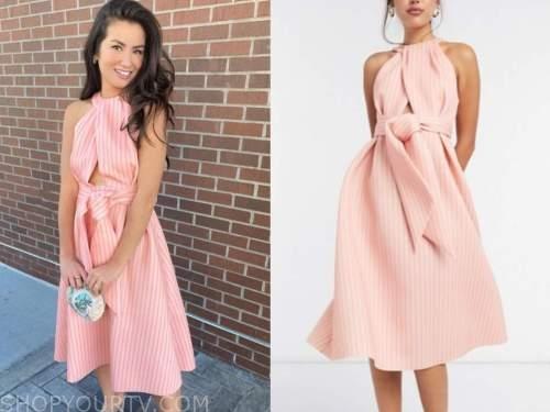 caila quinn, the bachelor, pink striped halter midi dress