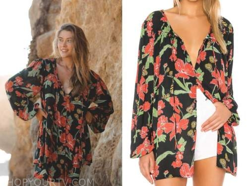 caelynn miller-keyes, the bachelor, black and red floral tunic top