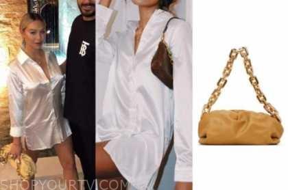 corrine olympios, satin shirt dress, yellow chain bag, the bachelor