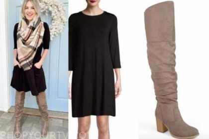 ali fedotowsky, the bachelorette, black dress, plaid scarf, brown boots