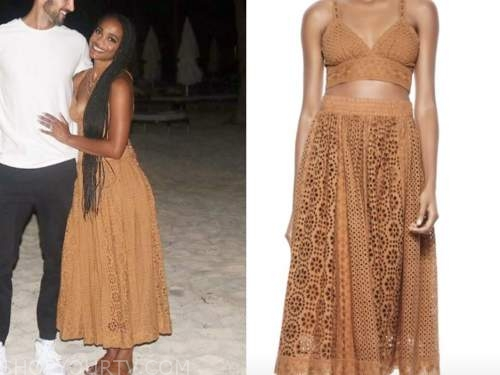 rachel lindsay, the bachelorette, tan lace crop top and skirt set